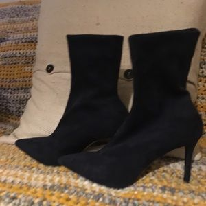 Women's Natural Faux Suede Sock Boot